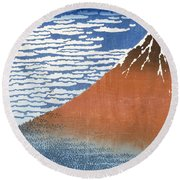 Fuji Mountains In Clear Weather Round Beach Towel
