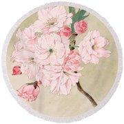 Fukurokuju - God Of Longevity - Vintage Watercolor Round Beach Towel