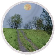 Full Moon And A Country Road Round Beach Towel