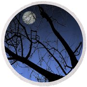 Full Moon And Black Winter Tree Round Beach Towel