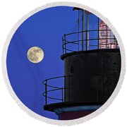 Full Moon And West Quoddy Head Lighthouse Beacon Round Beach Towel