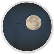 Full Moon At Dawn Round Beach Towel