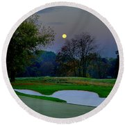 Full Moon At The Philadelphia Cricket Club Round Beach Towel by Bill Cannon