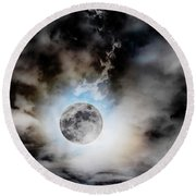 Full Moon  In Stormy Sky Round Beach Towel