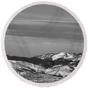 Full Moon On The Co Front Range Bw Round Beach Towel