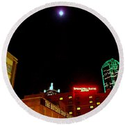 Full Moon Over Dallas Streets Round Beach Towel