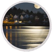 Full Moon Over Kennebec River Georgetown Island Maine Round Beach Towel