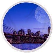 Full Moon Over Manhattan II Round Beach Towel
