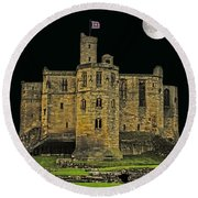 Full Moon Over Medieval Ruins Round Beach Towel