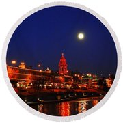 Full Moon Over Plaza Lights In Kansas City Round Beach Towel