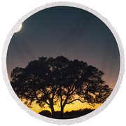 Full Moon Over Silhouetted Tree Round Beach Towel