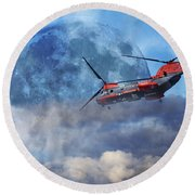 Full Moon Rescue Round Beach Towel