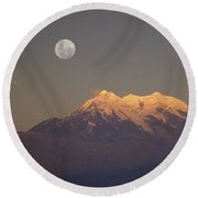 Full Moon Rise Over Mt Illimani Round Beach Towel