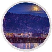 Full Moon Rising #2 Round Beach Towel