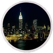 Full Moon Rising - New York City Round Beach Towel