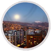 Full Moon Rising Over La Paz Round Beach Towel