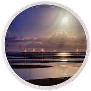 Full Moon Rising Over Sandgate Pier Round Beach Towel