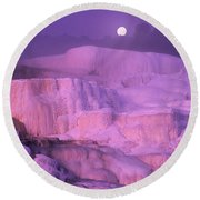 Full Moon Sets Over Minerva Springs On A Winter Morning Yellowstone National Park Round Beach Towel