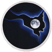 Full Moon Silver Lining Round Beach Towel