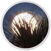 Full Moon Through The Palms Round Beach Towel