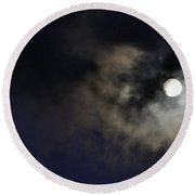 Full Moon With Clouds Night Usa Round Beach Towel