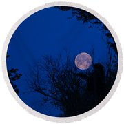 Full Moon With Trees Round Beach Towel
