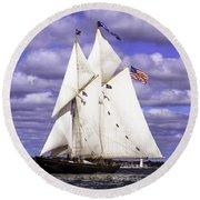 Full Sails Ahead Round Beach Towel