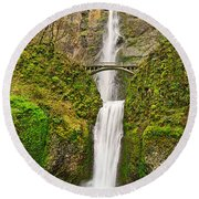 Full View Of Multnomah Falls In The Columbia River Gorge Of Oregon Round Beach Towel