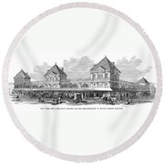 Fulton Fish Market, 1881 Round Beach Towel