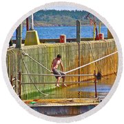 Fun At The Ferry Dock On Brier Island In Digby Neck-ns Round Beach Towel