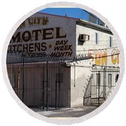Fun City Las Vegas Motel Round Beach Towel by Edward Fielding