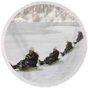 Fun In The Snow Round Beach Towel by Susan Candelario