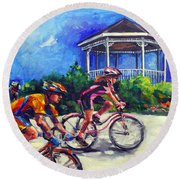 Fun Time In Bicycling Round Beach Towel