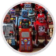 Fun Toy Robots Round Beach Towel