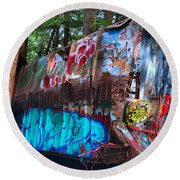 Function Junction Train Wreckage Round Beach Towel