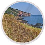 Fundy Bay Coastline Near Cliffs Of Cape D'or-ns Round Beach Towel