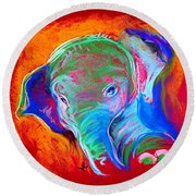 Funky Baby Elephant Blue Round Beach Towel