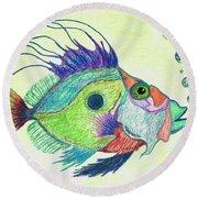 Funky Fish Art - By Sharon Cummings Round Beach Towel