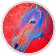Funky Handsome Horse Blue Round Beach Towel
