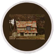 Funky House On 17 Mile Drive Round Beach Towel