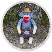Funky Monkey - Purple Peeps Round Beach Towel