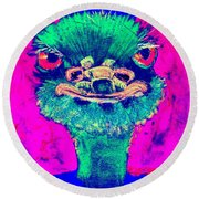 Funky Ostrich Cool Dude Art Prints Round Beach Towel