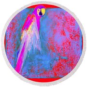 Funky Rainbow Parrot Art Prints Round Beach Towel