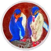 Funky Rockhopper Penguins Round Beach Towel