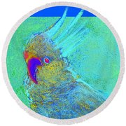 Funky Sulphur Crested Cockatoo Bird Art Prints Round Beach Towel