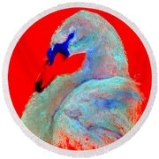 Funky Swan Blue On Red Round Beach Towel