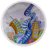 Funky Town Round Beach Towel