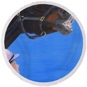 Funny Face - Horse And Child Round Beach Towel