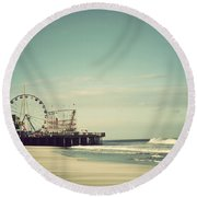 Funtown Pier Seaside Heights New Jersey Vintage Round Beach Towel