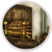 Furniture - Fireplace - A Simple Fireplace Round Beach Towel
